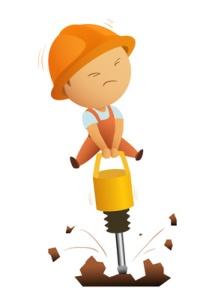 Little men working with big jackhammer