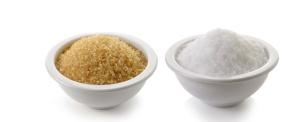 sugar and salt on white background