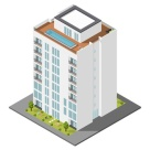 Residential house with a private garden and penthouse apartments isometric icon set vector graphic illustration