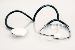 Stethoscope on the white background. Healthcare and medical.