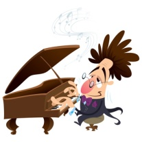 Cartoon pianist with crazy hair while performing